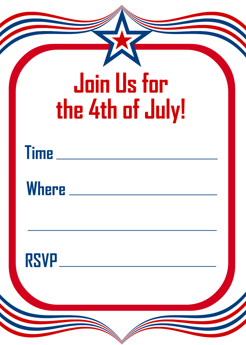 Patriotic star vertical red, white and blue 4th of July party invitation