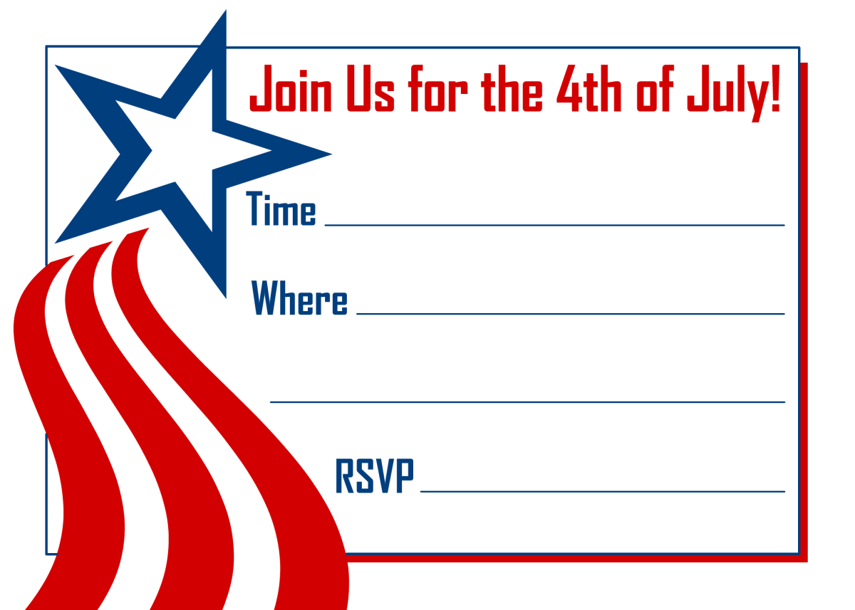 Shooting star horizontal 4th of July invitation