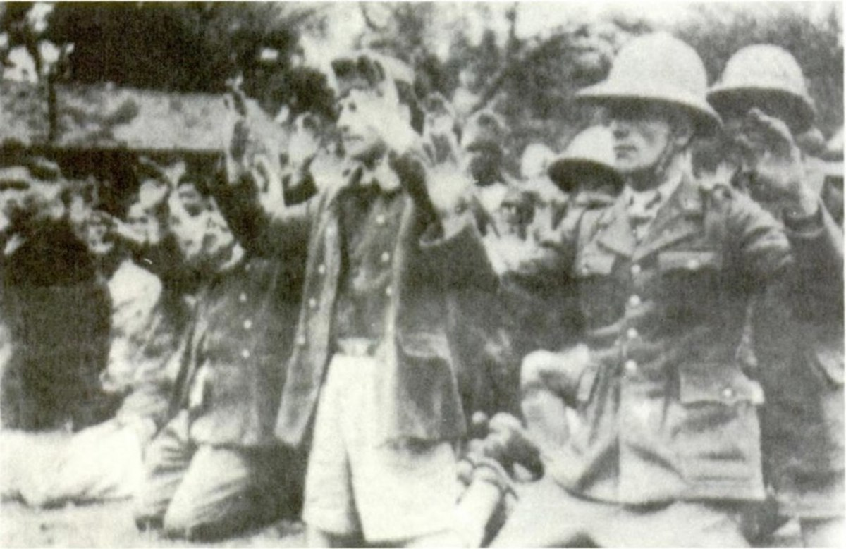 French soldiers captured by the Japanese after their 1945 coup: although the French generally fought bravely, incompetent top leadership, outdated equipment, surprise, insufficient numbers, and poor supplies meant they were quickly destroyed.
