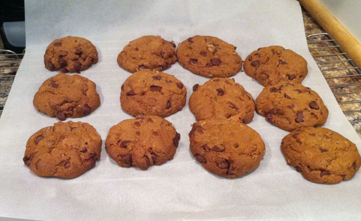 These are still warm for the oven, and the chocolate chips are melt-in-your-mouth good.