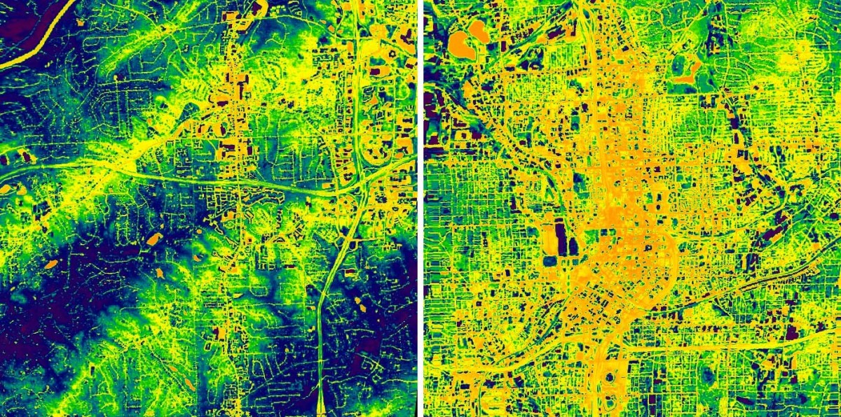 Nighttime thermal images of suburban (left) and urban (right) Atlanta.