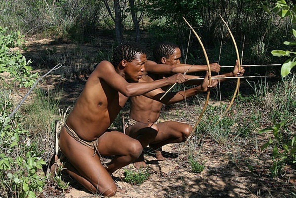San Bushmen with their Bows and Arrows