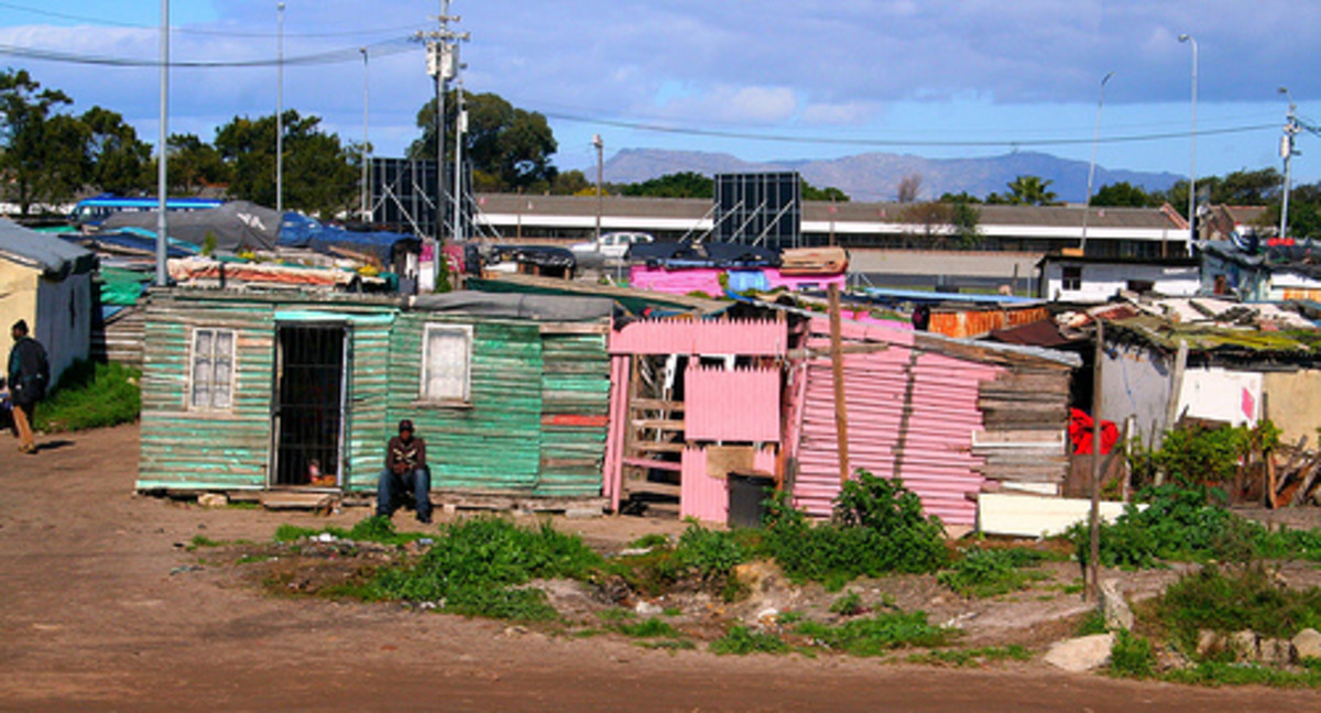 South African township where the San Bushmen are forced to live in poverty