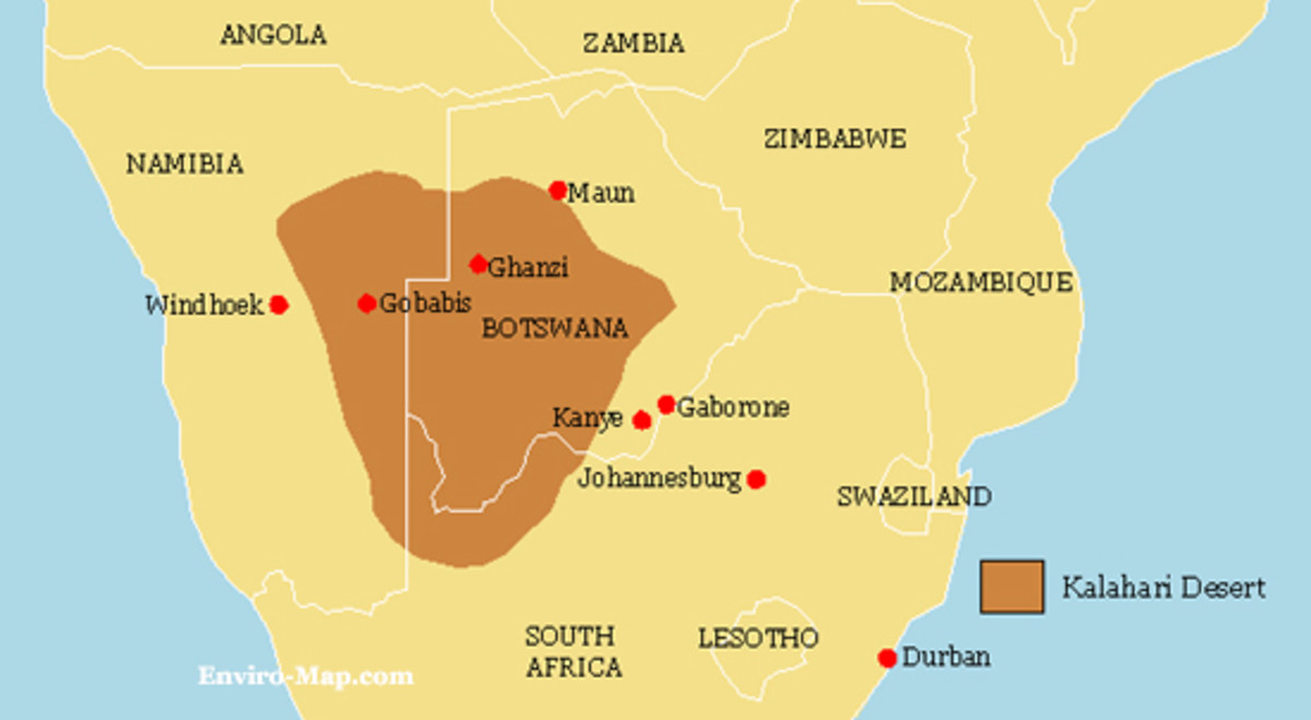 Map of the Kalahari Desert