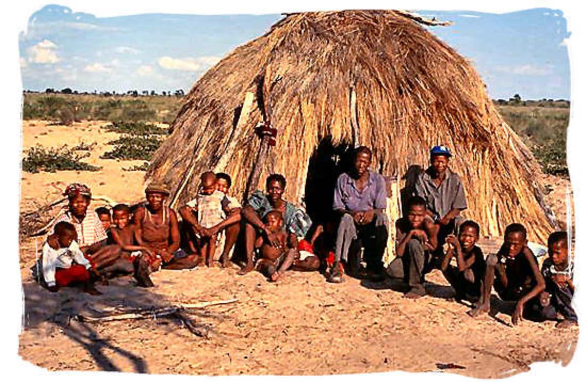 Modern day San Bushmen in their Huts