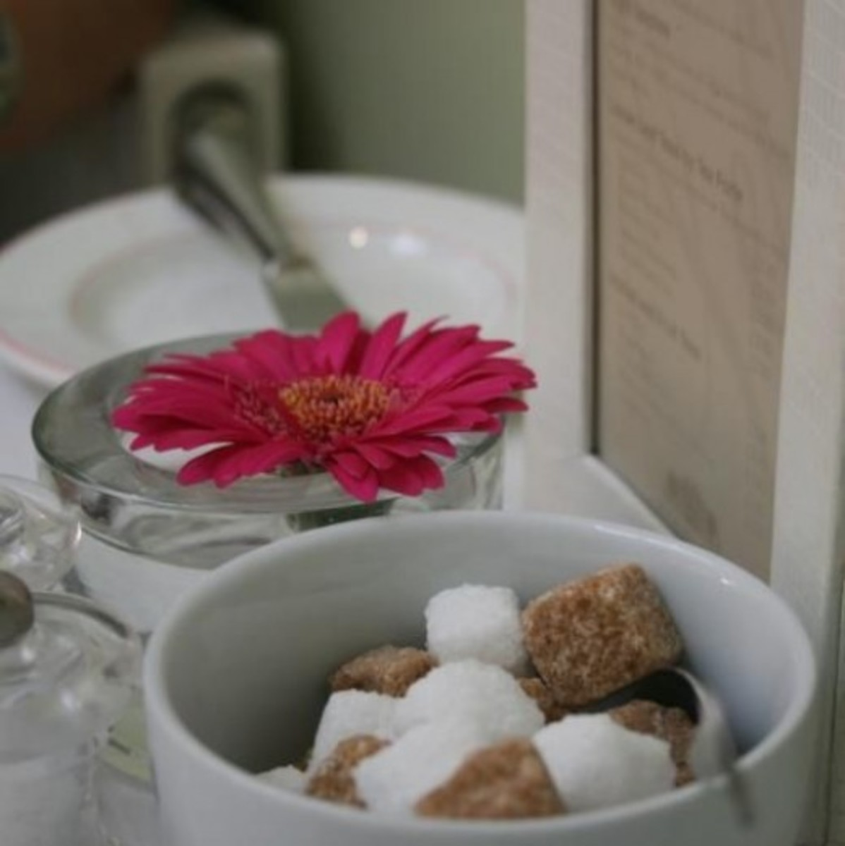 Table inside the tearoom with flower and sugar cubes