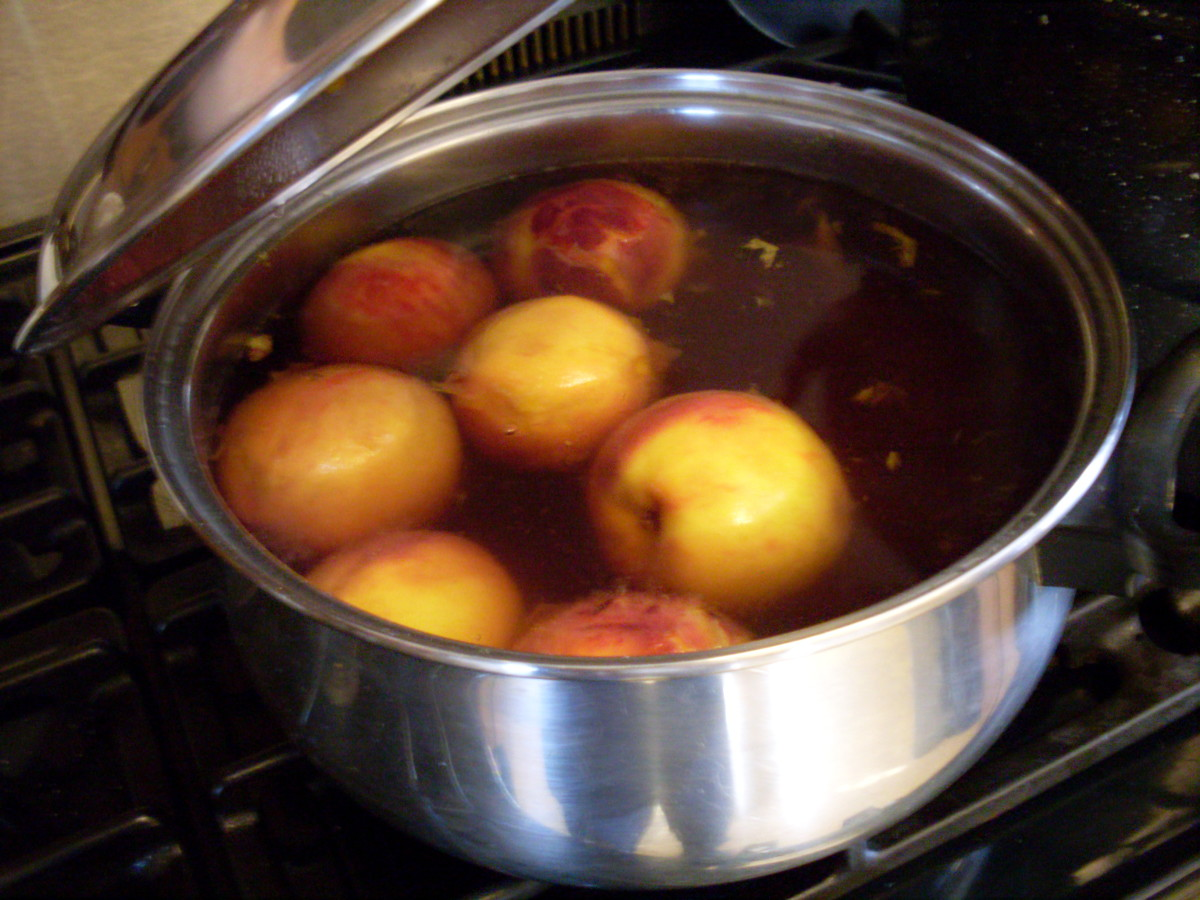 You may peel your peaches without blanching them, but I think blanching the fruit and slipping the skins is easier. Bring a pot of water to a rolling boil, put in a few peaches, wait for the water to return to a boil, and count three minutes.