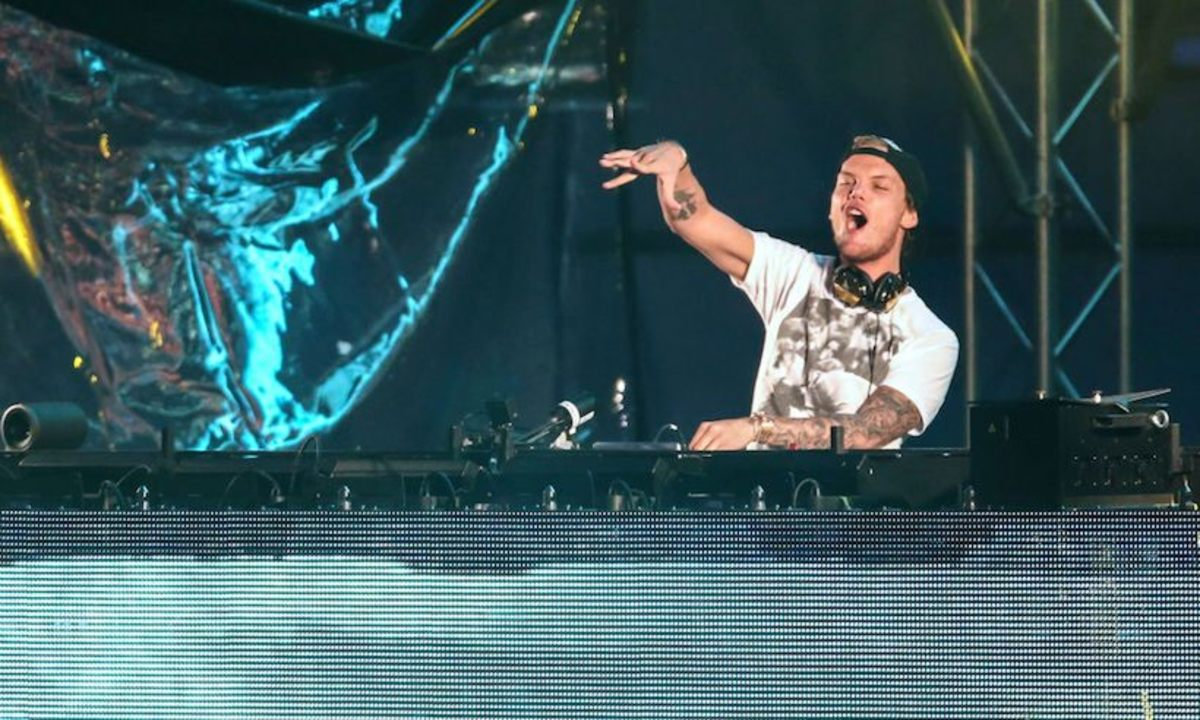 Electronic dance music Dj, artist and producer the late Avicii works up the crowd during a past performance