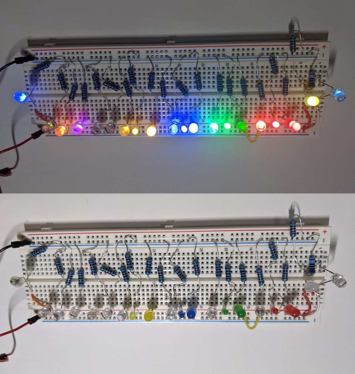 This photo displays my collection of LEDs both while illuminated, and while powered off.