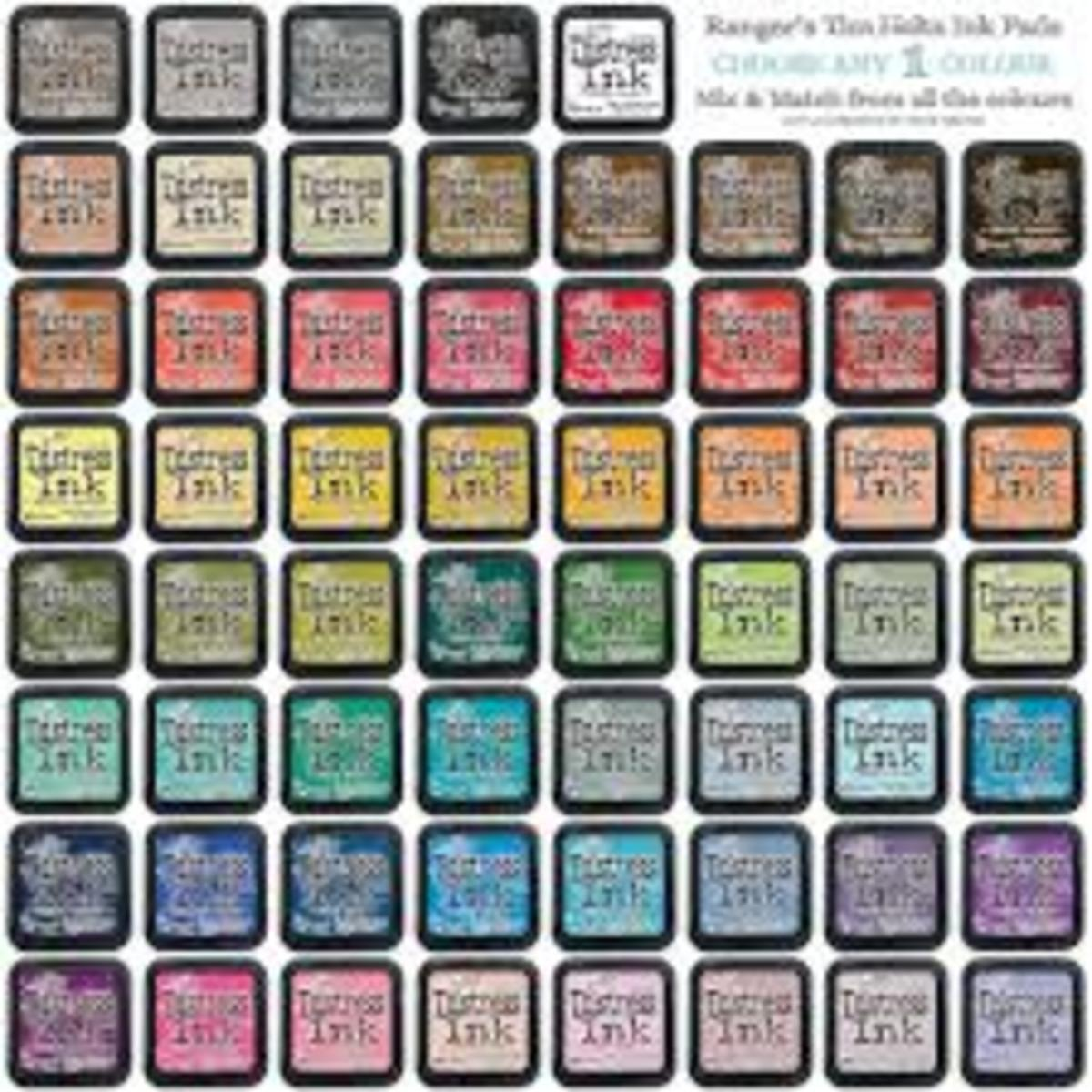 There are currently 61 shades of distress inks in the Ranger Tim Holtz line