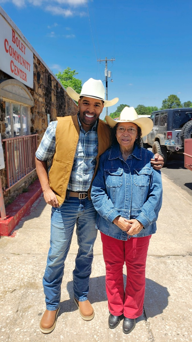 Andre Jackson with Boley's Mayor, Dr. Francis Shelton, at this year's 2021 Rodeo Barbecue Festival and parade as the Grand Marshal.