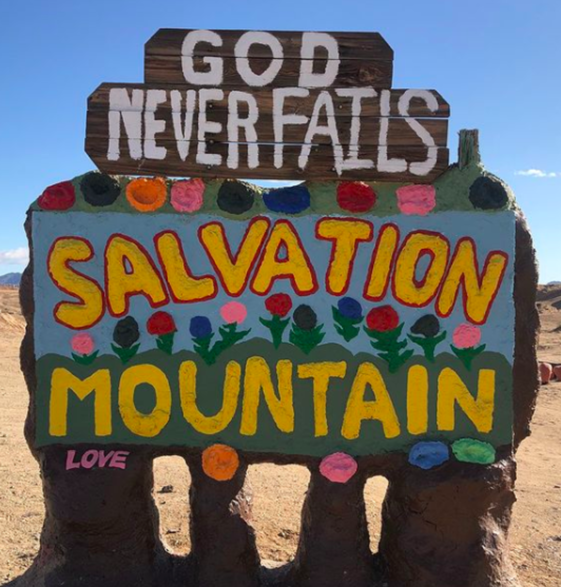 Salvation Mountain at the entrance to Slab City, California.