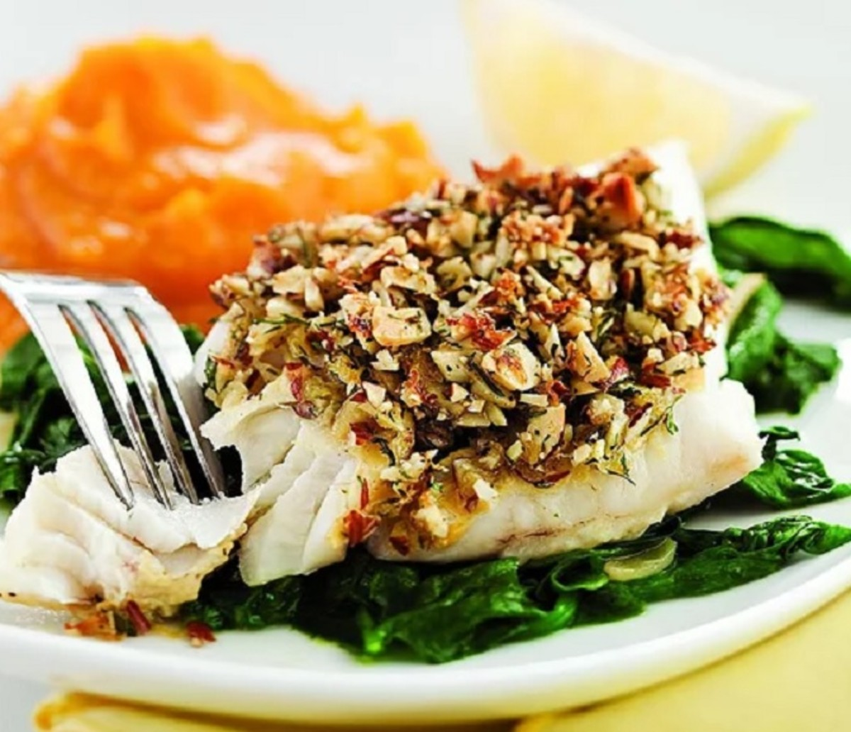 Almond and lemon crusted fish