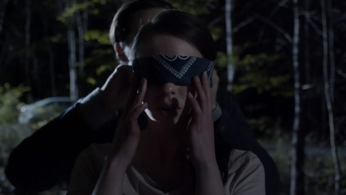 Blindfold in the forest. Nothing will go wrong.