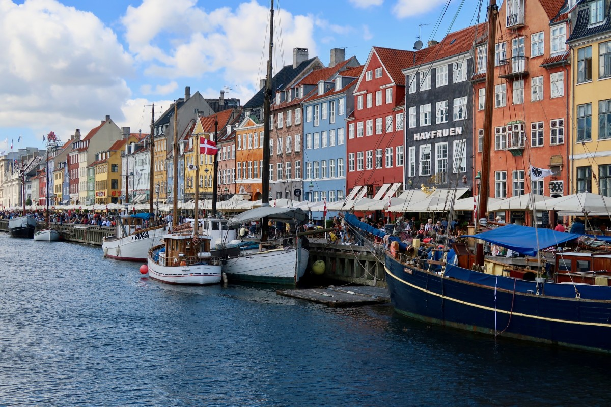 View of Nyhavn one of the must visit places in Copenhagen and from where you can take a boat trip round the city.