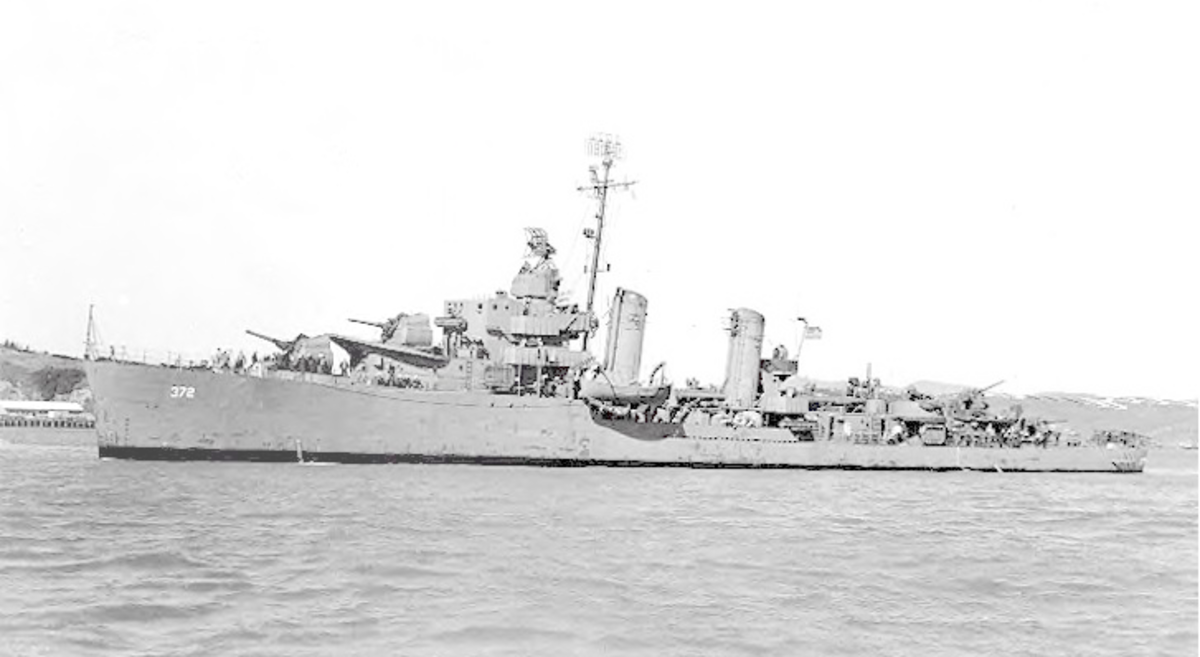 Photograph of USS Cassin (DD-372) off the Mare Island Navy Yard, California, 26 February 1944.