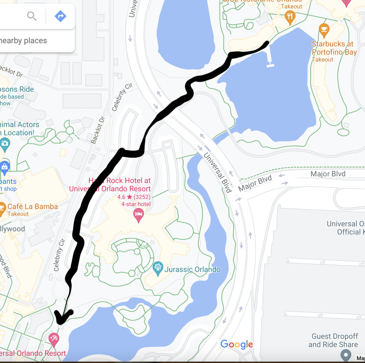 The shortcut from Portofino to Universal Studios