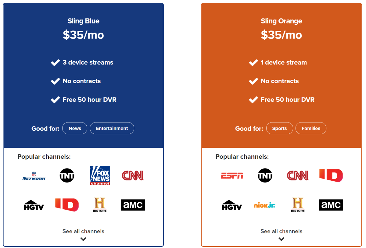 Sling offers two plans: Blue and Orange