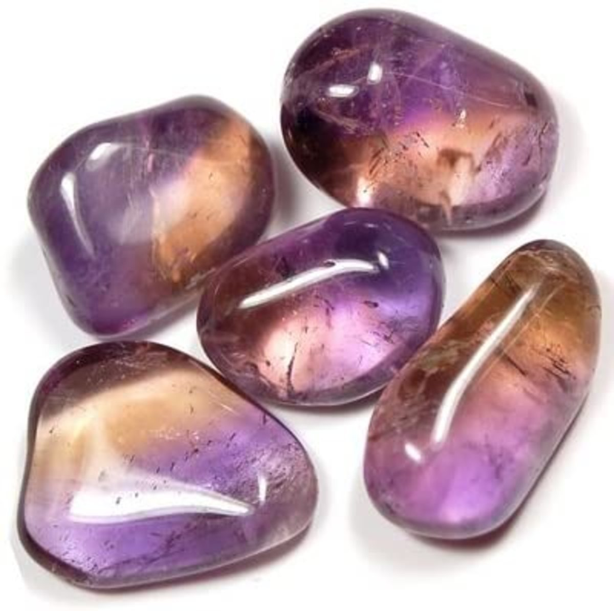 The beautiful purple and yellow color of this crystal is because of the fact that it is a combination of Amethyst and Citrine.