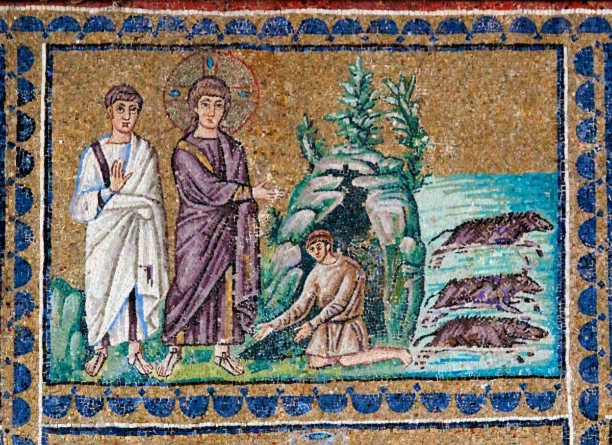 Mosaic of the exorcism of the Gerasene demoniac from the Basilica of Sant'Apollinare Nuovo in Ravenna, dating to the sixth century AD