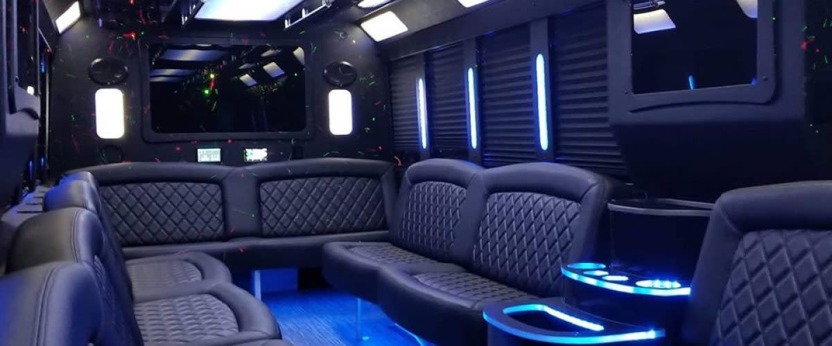Party bus interiors can be custom-made to suit specific preferences