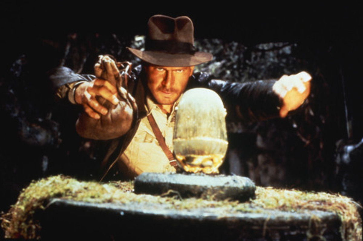 """In the movie Raiders of the Lost Ark, the character Indiana Jones """"liberates"""" a golden idol from a Peruvian temple; the fictional story mimics the actual theft of priceless artifacts."""