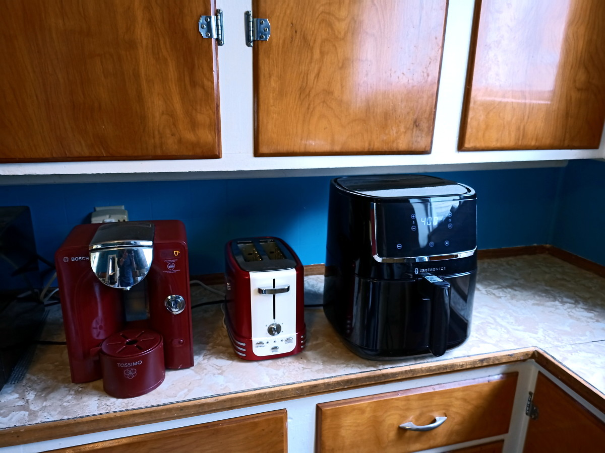 To get a sense of size, here is the air fryer on my counter