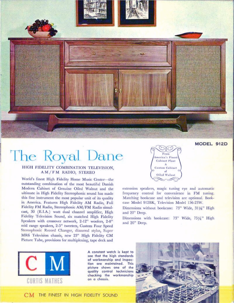 The Royal Dane was in the New Curtis Mathes Line for 1961 Curtis Mathes Serving American Homes for 62 Years.