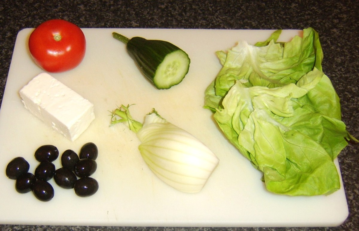 Principal Greek style salad ingredients