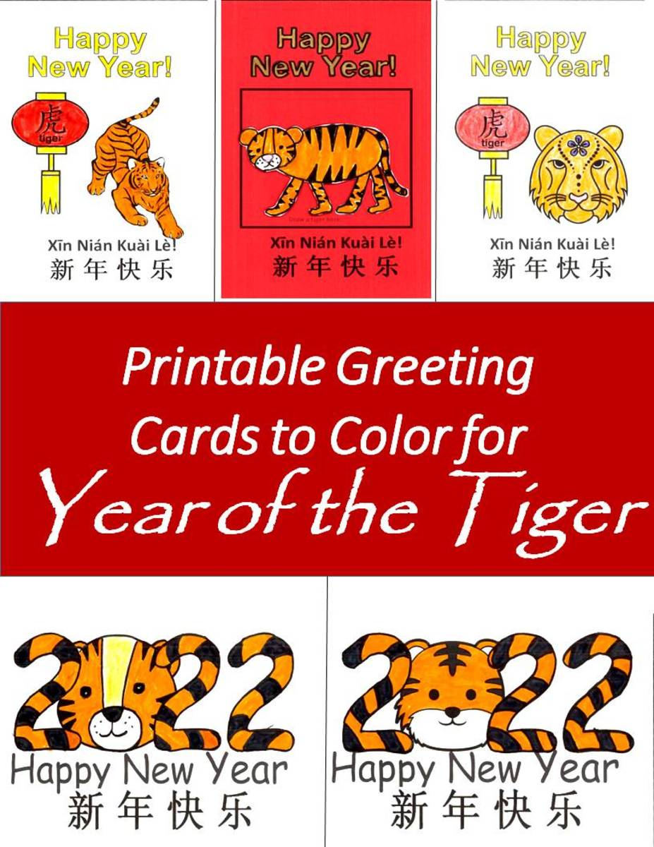 This article has 20 different greeting cards for Year of the Tiger that can be printed, colored, and folded.