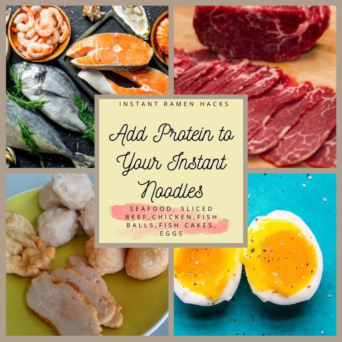 How to make instant noodles better?Add protein for healthier instant noodles or ramen with eggs, prawns, fish ball, fish cakes, sliced beef or chicken