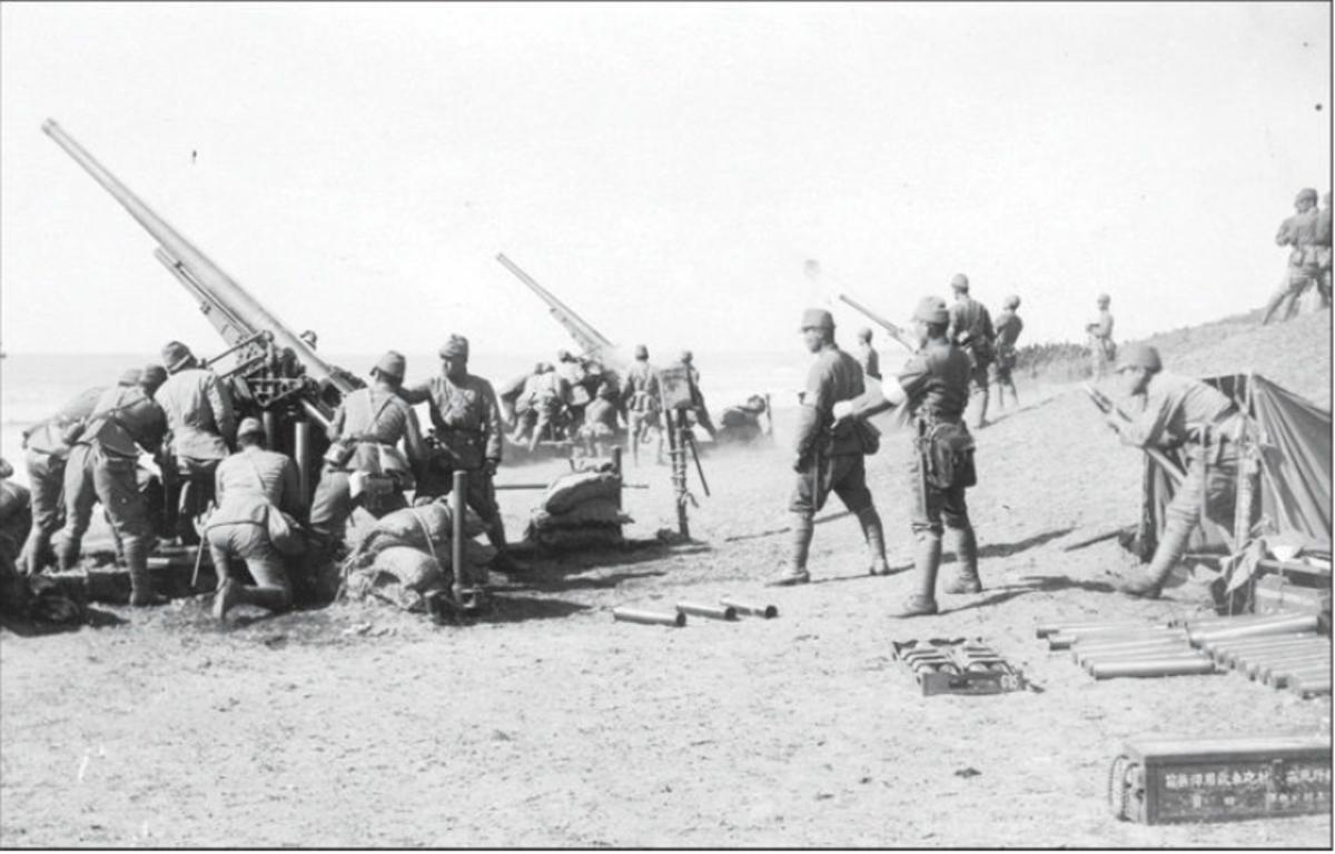 Japanese 75mm anti-aircraft units firing
