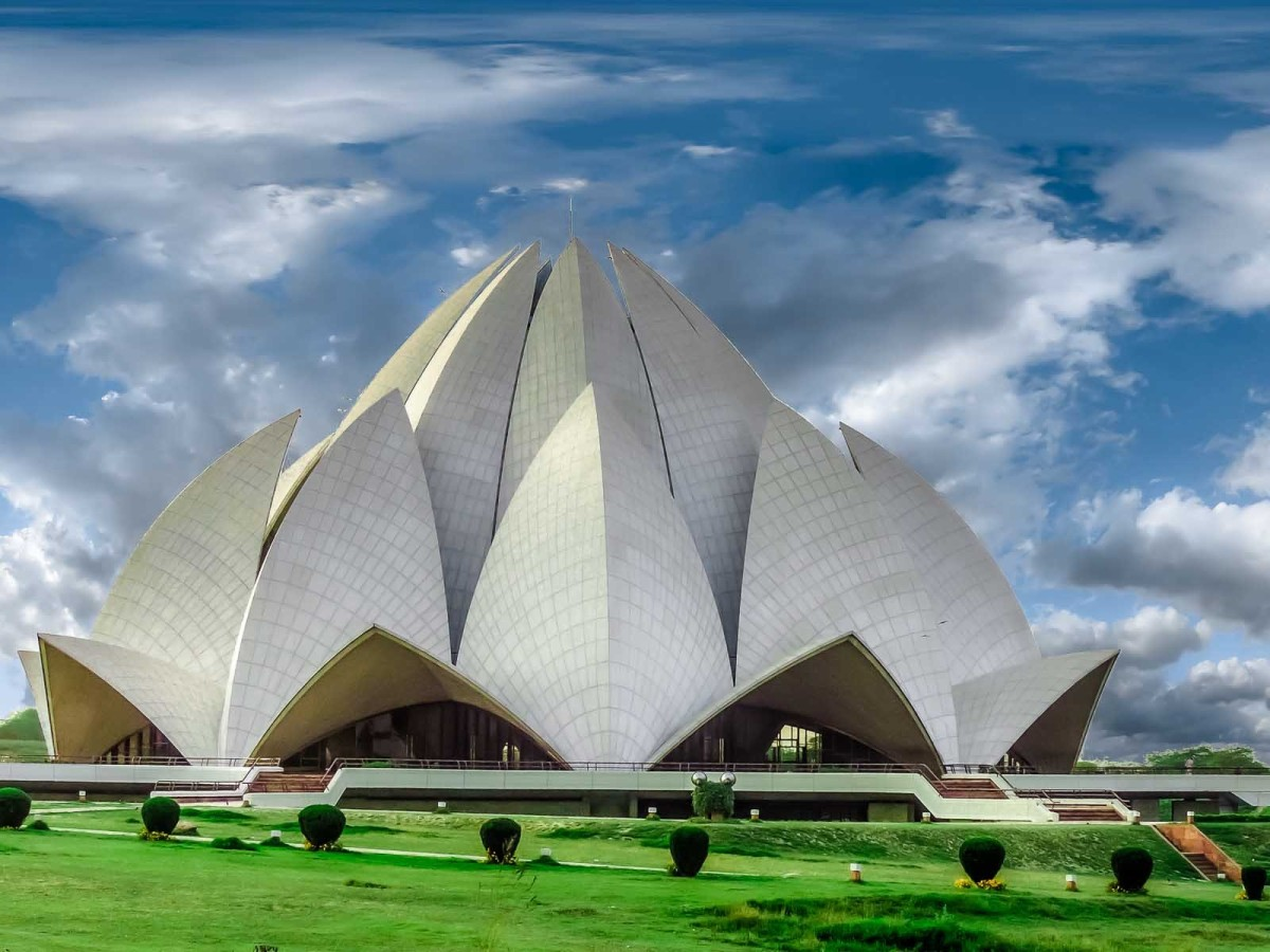 Baha'i House of Worship in the shape of a lotus flower, in Delhi, India