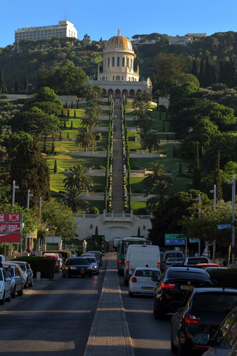 Terraces leading to the Shrine of the Bab on Mount Carmel, Haifa, Israel, where the Bab is buried.