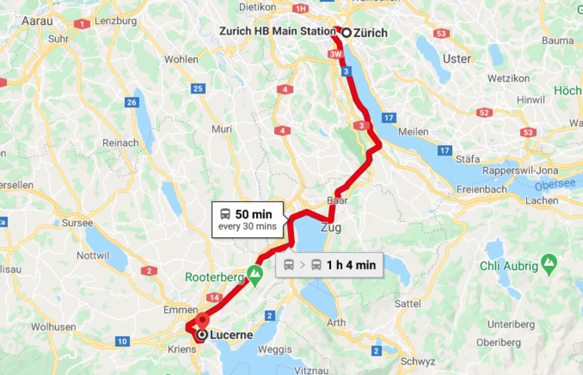 Train route from Zurich to Locerne