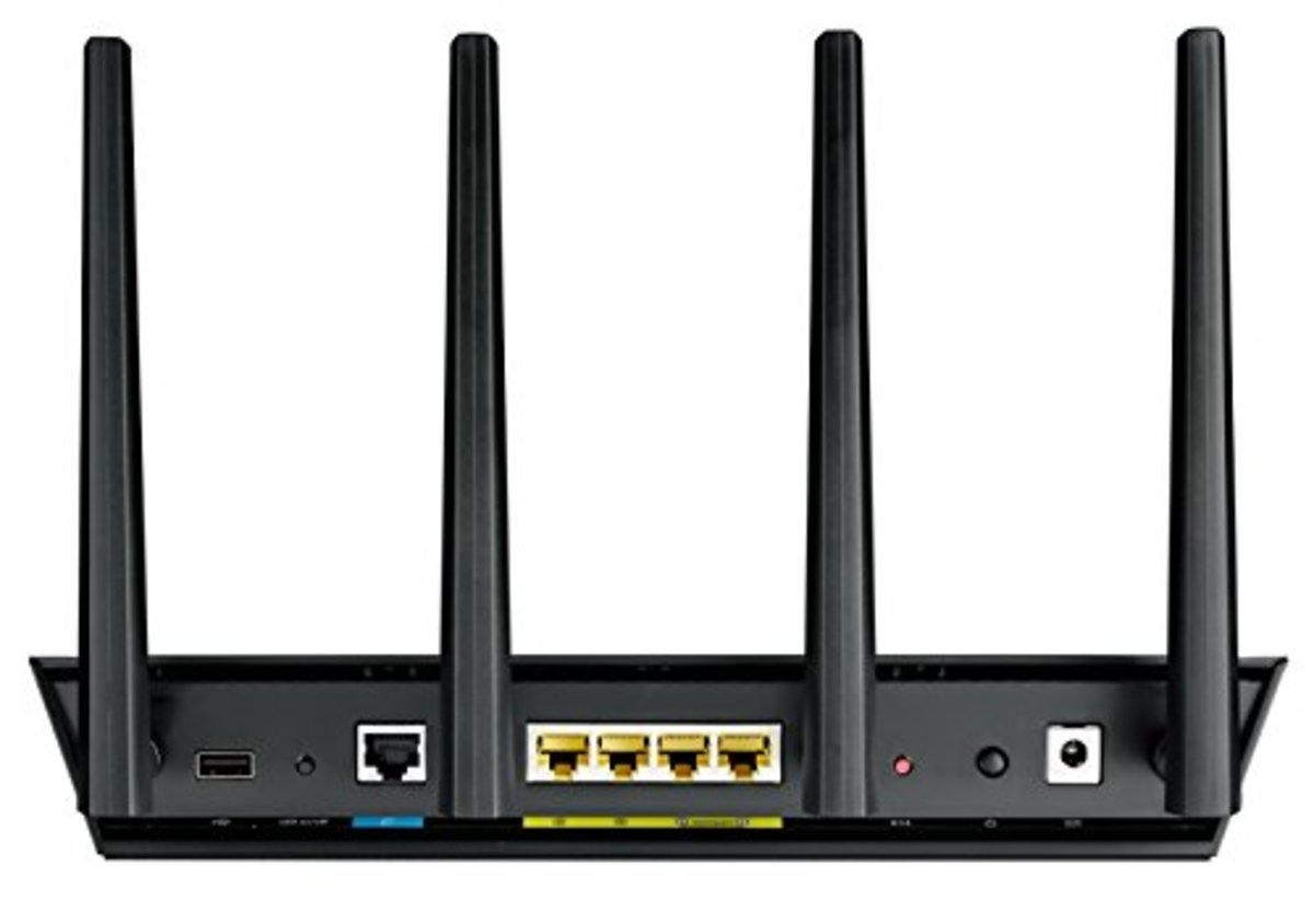 Rear of the Asus RT-AC87U wireless router