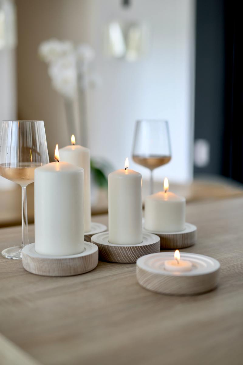Candles, candle holders, and wine all make great gifts.