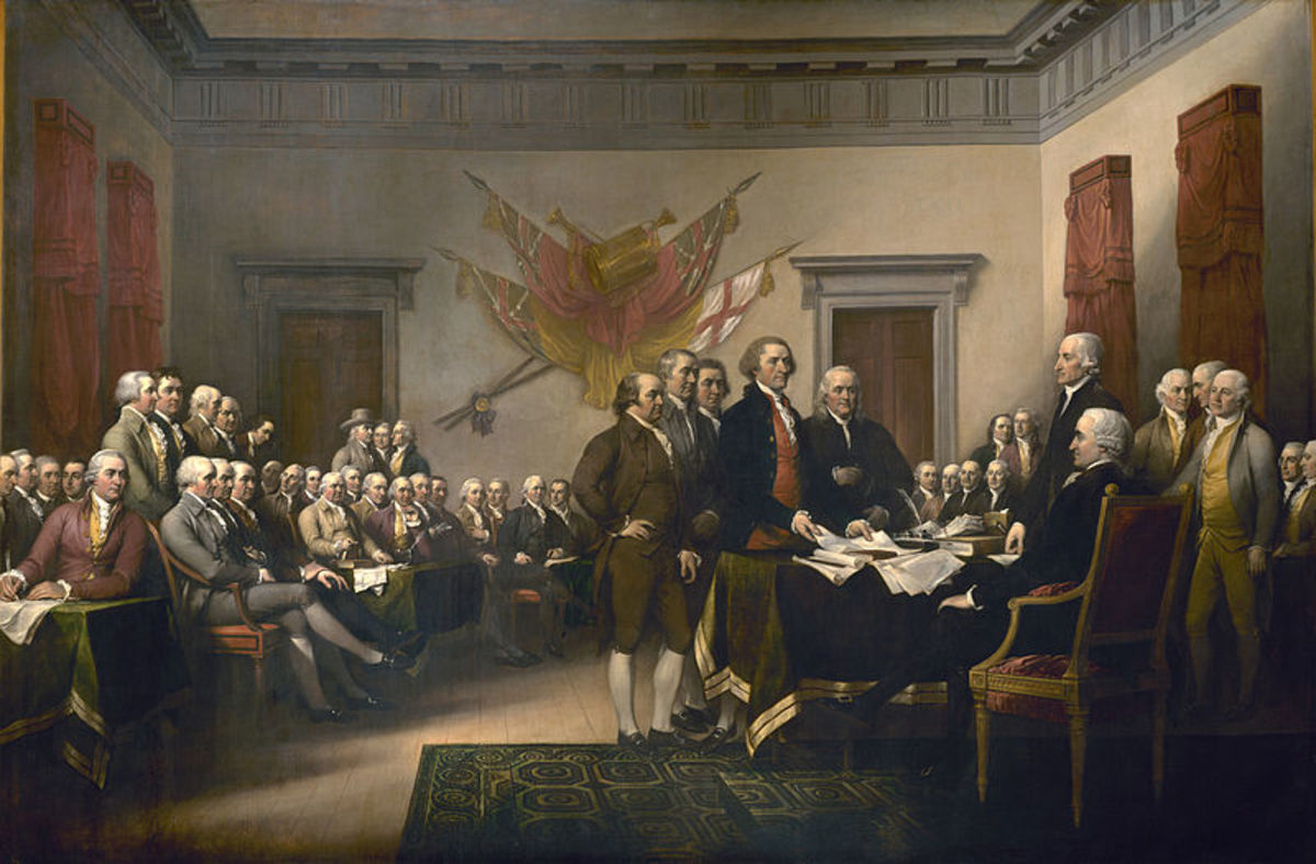 Depicts the five-man drafting committee  presenting their work to the Congress. John Adams, Roger Sherman (front and center), Robert Livingston, Thomas Jefferson and Benjamin Franklin.