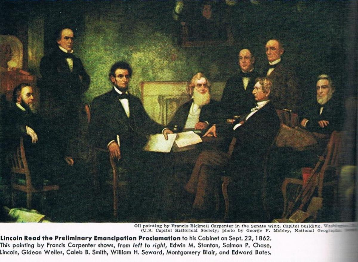 President Lincoln's cabinet assembles January 1, 1863.