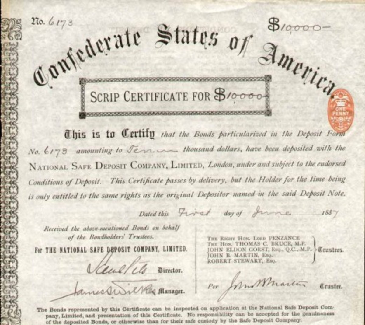 National Safe Deposit Company Ltd. for holding of confederate bonds, London, 1887; measures ca. 22 x 21 cm., one penny Source: 1887 and The British Stamp Tax was in Full Effect