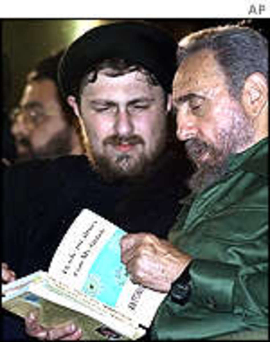 Hassan Khomeini, the grandson of the late Ayatollah Khomeini of Iran, as he leads more than 1.2 million Cubans in the largest anti-U.S. protest in four decades of hostilities, July 26, 2001.