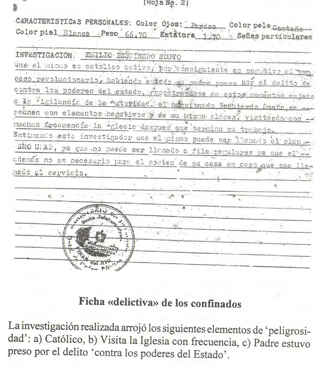 "This corresponds to a ""criminal profile"" of Emilio Izquierdo according to the cuban regime. It explains why Izquierdo was sent to the UMAP camps. profile literally reads: ""This individual is a catholic and thus he is negative to the revolutionary pro"