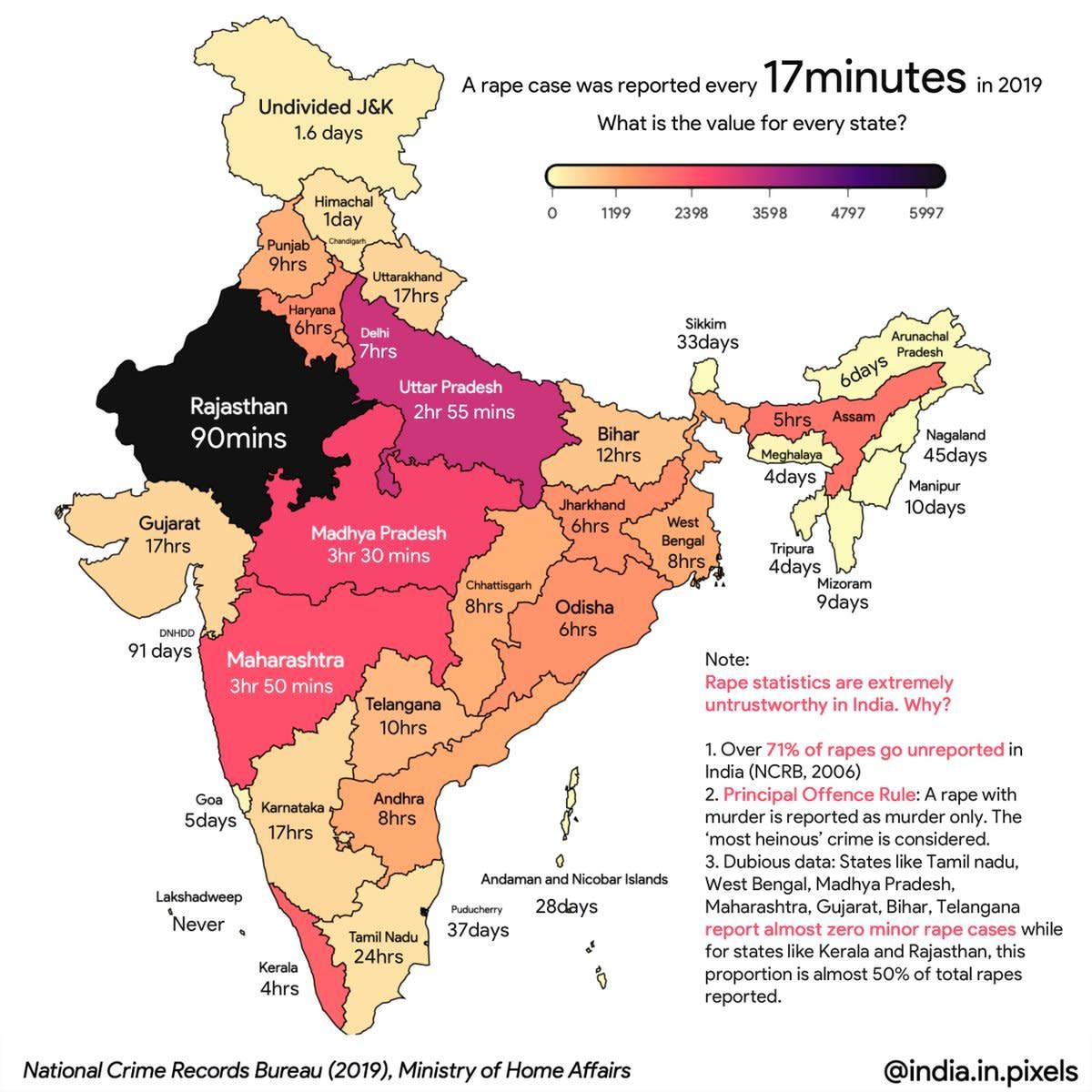 Rape map of India - 2019.
