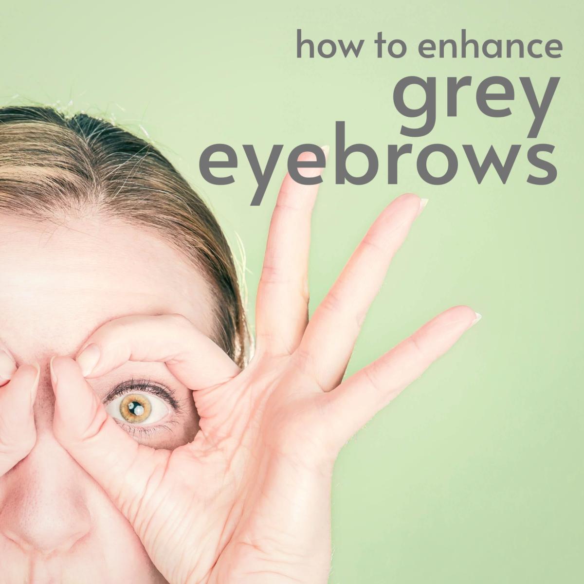Eyebrow pencils and makeup options for gray hair.