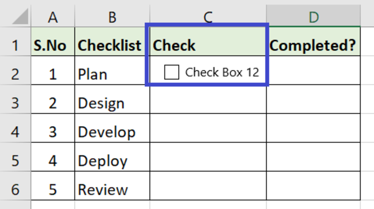 Click on the cell where you would like to add the checkbox (in this case C2)