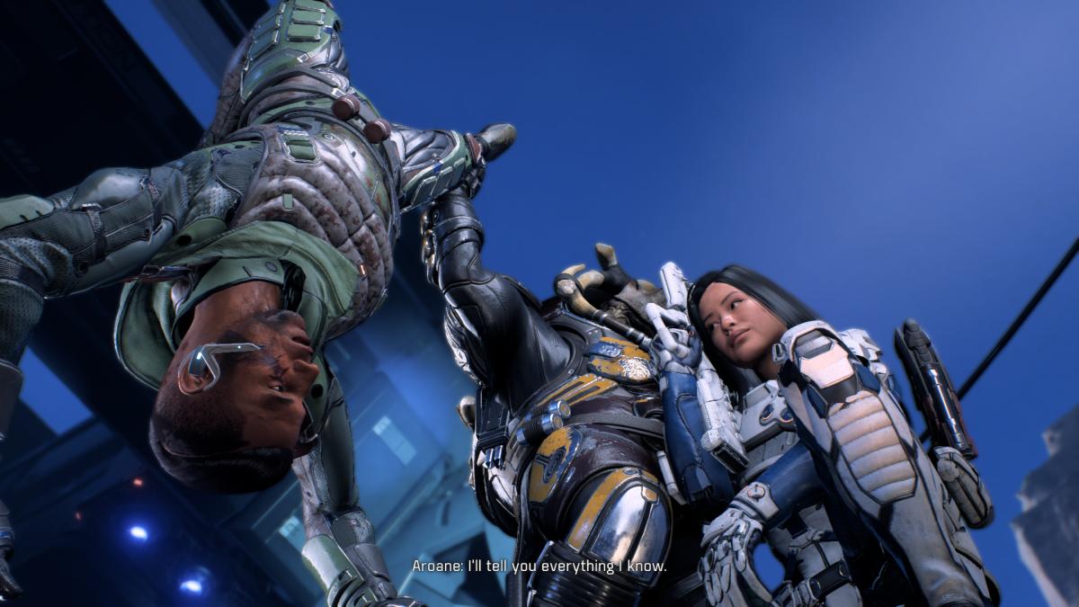 My screenshot of Drack dangling Aroane.