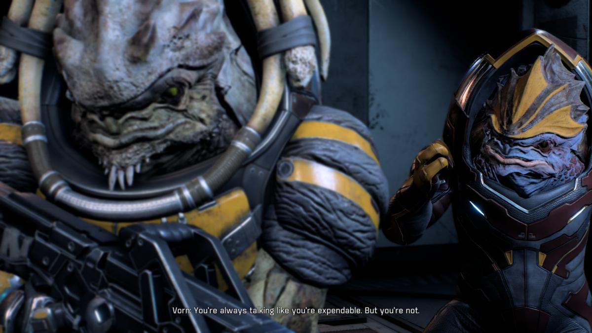 My screenshot of Drack and Vorn arguing.