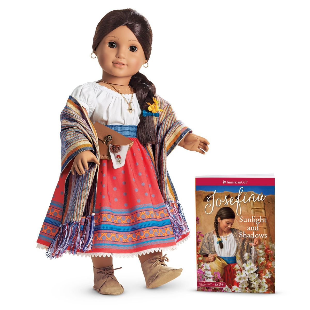 The current version of the Josephine doll which shows that only minor changes have been made to the doll's Meet Outfit and accessories.