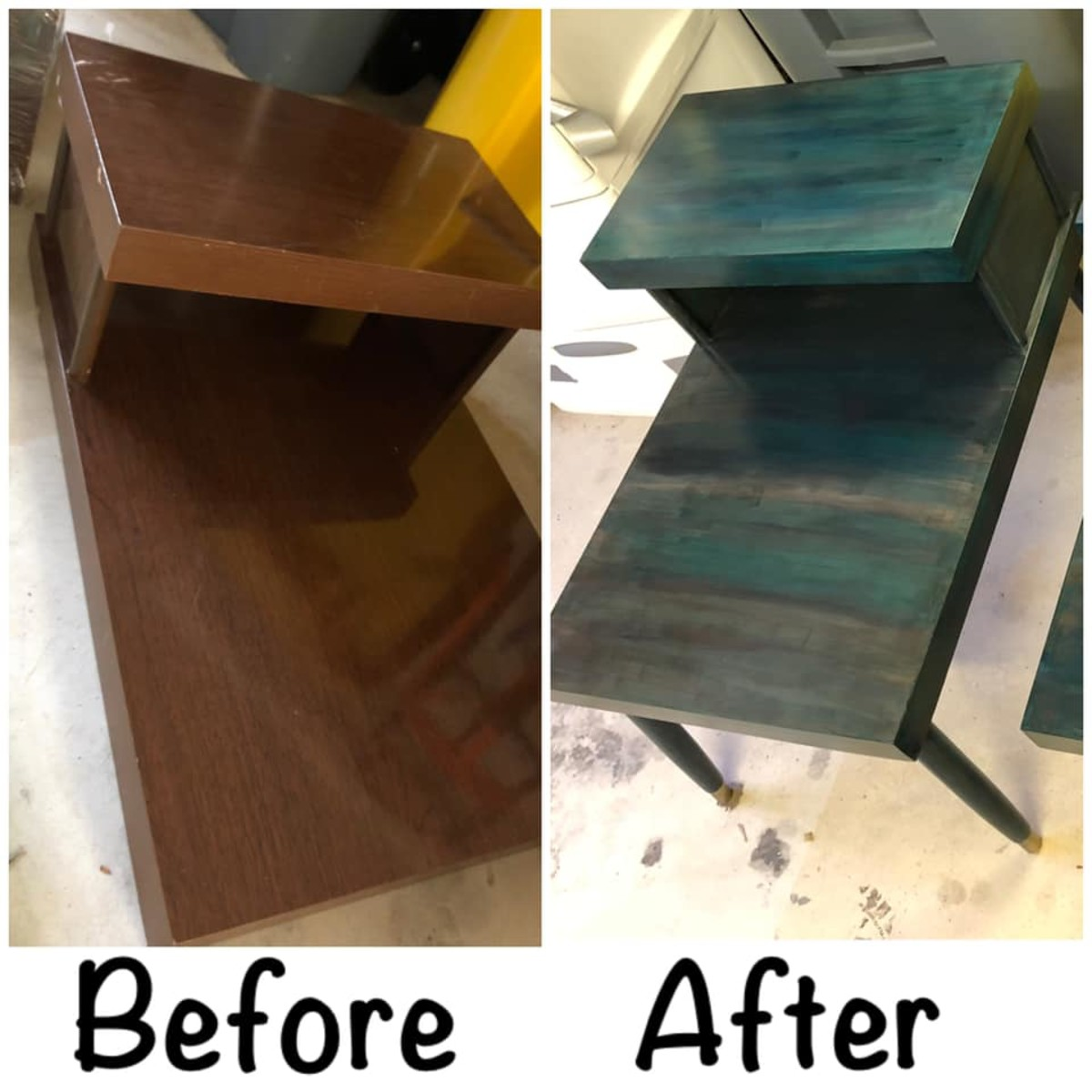 Before and after Unicorn Spit End Tables