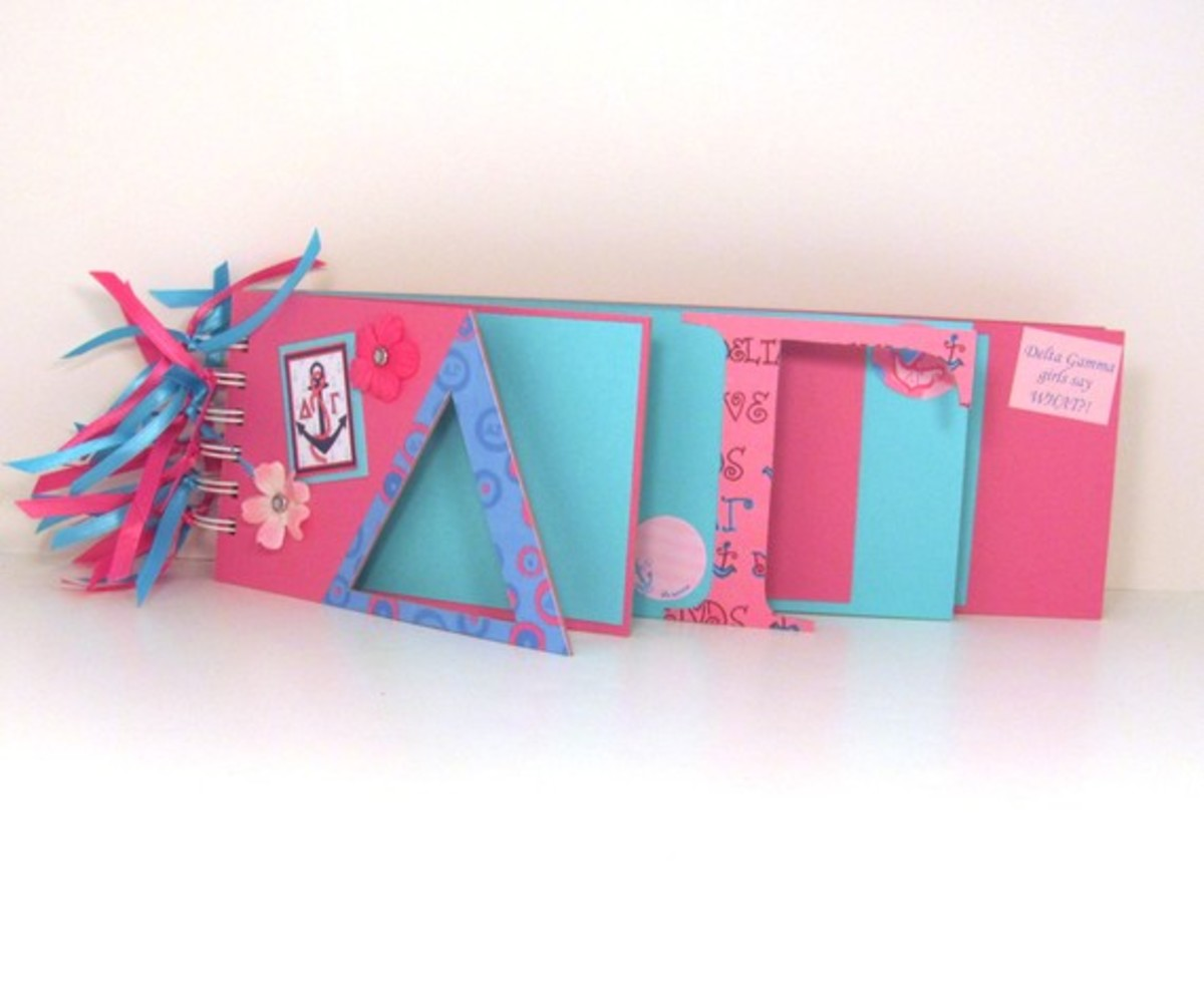 There are lots of handmade custom college and Greek life scrapbooks out there.